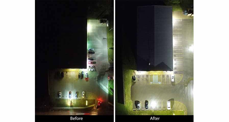 A Before and After Example of a Exterior LED Retrofit - in Blog Image