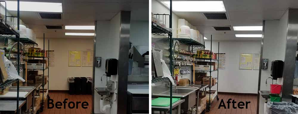 Before and After photo of a restaurant LED Retrofit 2