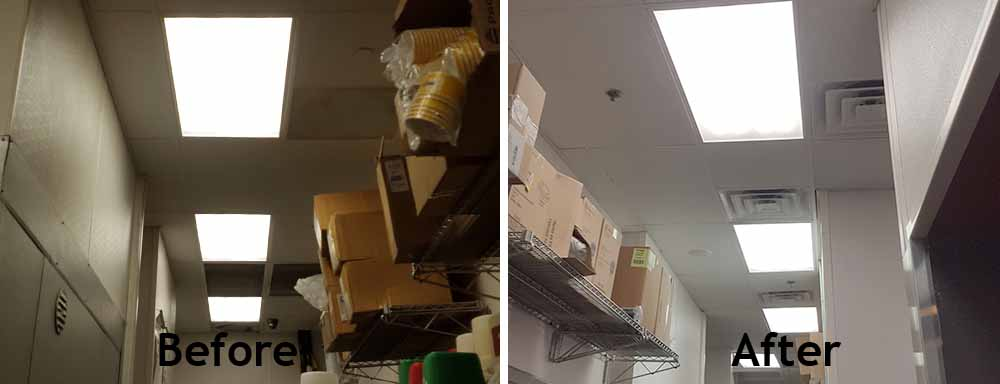 Before and After photo of a restaurant LED Retrofit